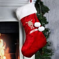 Personalised Retro Reindeer Christmas Stocking - ideal for gifts on Xmas Eve when hung from the mantelpiece